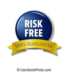 azul, 'risk, 100%, -, libre, guarantee', marina, círculo, etiqueta
