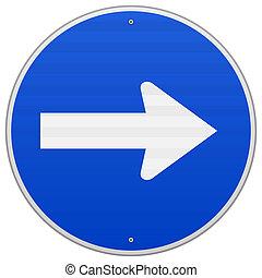 azul, roadsign, direita, apontar