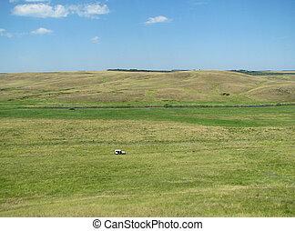 azul, rolando, colinas verdes, sob