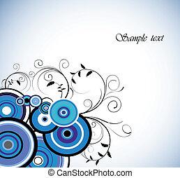 azul, romántico, ring., fondo., vector, floral