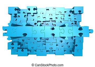 azul, rompecabezas, con, 3d, efecto