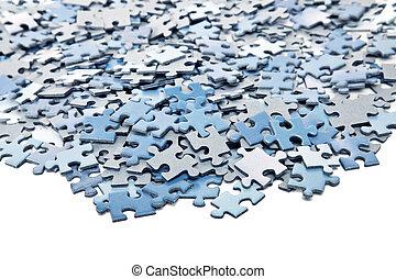 azul, rompecabezas, elementos