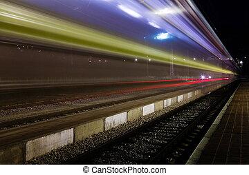 azul, roofless, salida, tren, holandés, pequeño, estación, rojo