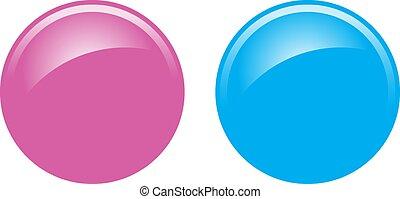 azul, rosa, botones