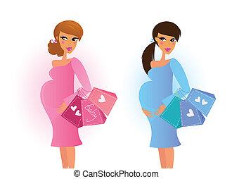 azul, rosa, mujeres embarazadas