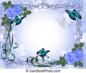 azul, rosas, boda, frontera, invitación