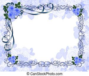 azul, rosas, convite