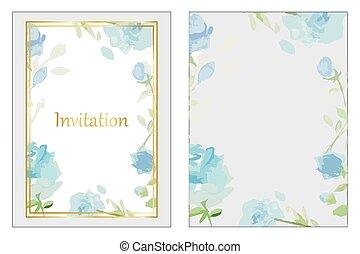 azul, rosas, convite casamento