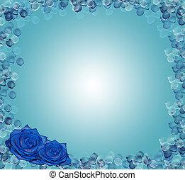 azul, rosas