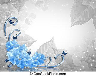 azul, rosas, esquina, diseño