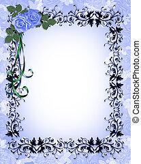 azul, rosas, ornamental, convite