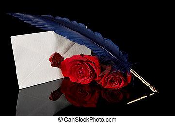 azul, rosas, pena, vermelho