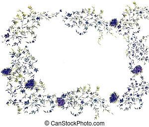 azul, rosas, quadro