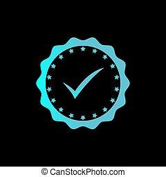 azul, rosette, aprovado, distinção, color., glowing, vetorial, tecno, icon., medalha, ou, certificado, ícone
