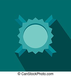 azul, rosette, distinção, em branco, fita, ícone