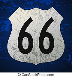 azul, rota 66, sinal