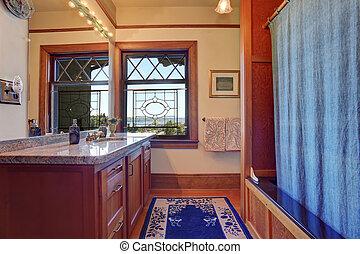 azul, rug., cuarto de baño, real, decoración, elegante