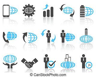 azul, série, negócio global, ícones