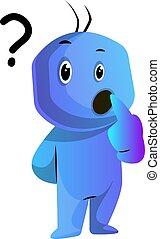 azul, sí mismo, ilustración, vector, preguntar, plano de...