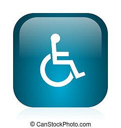azul, sílla de ruedas, internet, brillante, icono