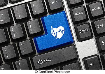 azul, símbolo, cuidados de saúde, -, tecla, teclado, conceitual
