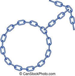 azul, símbolo, macho, forma, cadena
