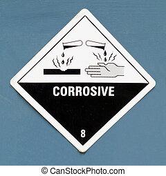 azul, símbolo, muestra del peligro, corrosivo, advertencia