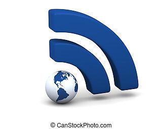 azul, símbolo, wifi