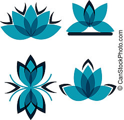 azul, símbolos, cuatro, pétalos