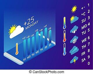 azul, símbolos, isométrico, conjunto, disposición,...
