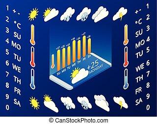 azul, símbolos, isométrico, conjunto, disposición, elements., móvil, meteorológico, application., widgets, aplicación, forecast., vector, diseño, plano de fondo, tiempo