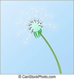 azul, só, sky., dandelion, contra, sozinha