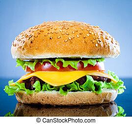 azul, sabroso, hamburguesa, apetitoso