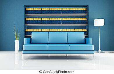 azul, salón