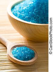 azul, sal de baño
