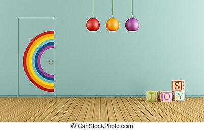 azul, sala, brinquedos
