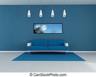 azul, sala de estar