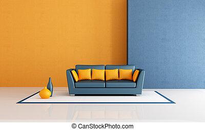 azul, sala de estar, laranja