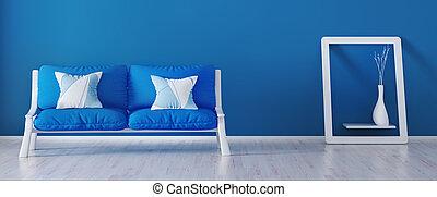 azul, sala de estar, modernos, sofá, fazendo, desenho, interior, 3d