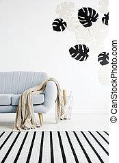 azul, sala de estar, sofá