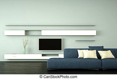 azul, sala, sofá, modernos, luminoso, desenho, interior