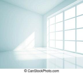 azul, sala, vazio