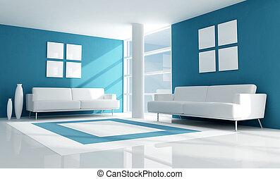 azul, sala, vida moderna