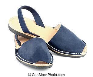 azul, sandalias, avarcas