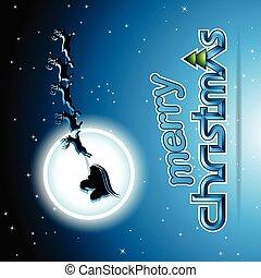 azul, santa, encima, ilustración, vector, reindeers, plano de fondo
