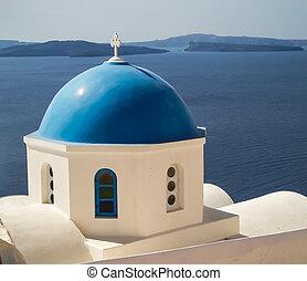 azul, santorini, cúpula, oia