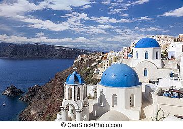 azul, santorini, cúpulas, oia