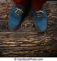 azul, sapatos, camurça