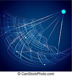 azul, satélite, coloridos, abstratos, vetorial, tecnologia
