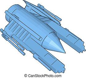 azul, sci-fi, cruzador batalha, ilustração, vetorial, fundo, branca